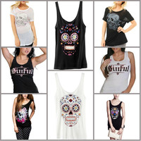 Sinful Cotton Sexy Skull Open Flower Short Sleeve T-shirt Biker Tee Top Womens