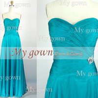A Line Beads Draped Chiffon Prom Dress, Wedding Dress, Evening Gown,Formal Dresses,prom gown.