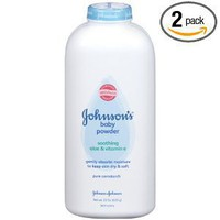 Johnson's Baby Powder Pure Cornstarch with Aloe and Vitamin E, 22 Ounce (Pack of 2)