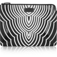 Marc by Marc Jacobs | Radio Waves printed faux patent-leather laptop case
