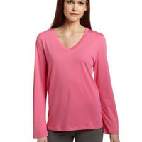 HUE Women`s Long Sleeve V-Neck Sleep Tee