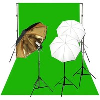 CowboyStudio - 675W Umbrella Triple Lighting Kits, Backdrop Support, 6 x9 Backdrop
