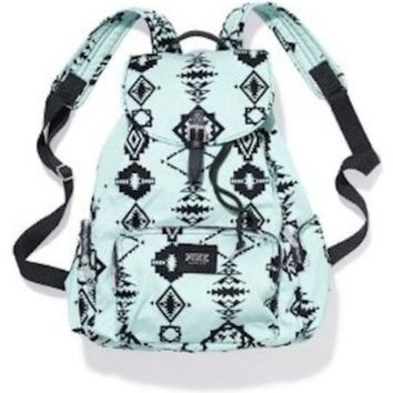 Victoria's Secret PINK Floral School Handbag Backpack Book Bag Tote - Mint Green Aztec