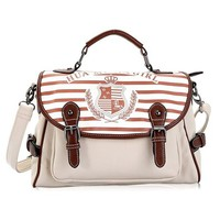 Stripe Print Top Handle Tote Messenger Shoulder Bag