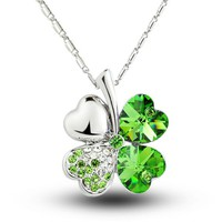 MagicPieces Women's Alloy Four Leaf Clover Shape Pendant with Rhinestone Platium Plating Necklace Color Green