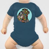 chimpanzee love sky Onesuit by Sharon Turner | Society6