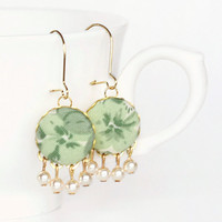 Dangle Earrings - Springtime Flowers with Pearls - Green and Beige Romantic Fabric Covered Buttons Earrings