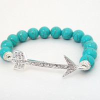 "Blue Turquoise Arrow Head Silver Link Beaded Elastic Bracelet, Fits up to 8.0"" Gift Under 30"