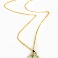 MINT RHINESTONE ANCHOR NECKLACE