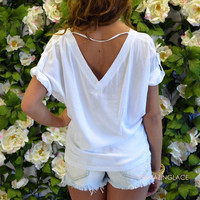 Double Take White V-Neck Top
