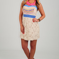 Boho With The Flow Dress: Cream/Multi