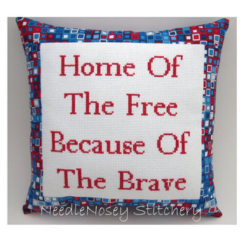 Cross Stitch Pillow Inspirational Quote Red White by NeedleNosey