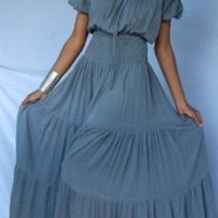 LIGHT GREY DRESS PEASANT FITS - 2X 3X 4X- U310