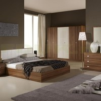 Tutto Mobili Italian Furniture - Tuttomobili Larissa White and Wenge Bed Frame Only