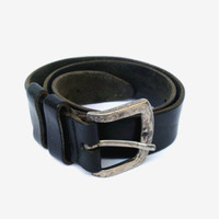 Vintage genuine leather belt black leather belt mens leather belt  tooled leather belt wide leather belt cowboy genuine leather belt