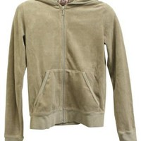 Juicy Couture Pearl Fog Velour Zip Solid Hoodie