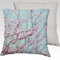 Torquoise & pink Spring tree blossom photo pillow, lamour cushion cover, torquoise accent throw pillow, wedding gift, love in Paris pillowr