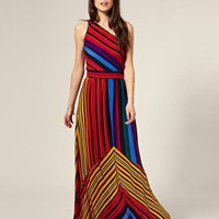 Warehouse Silk Paradise Stripe Maxi Dress