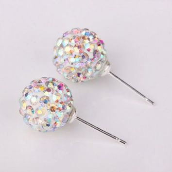 Change New Fashion Womens Sparkle Round Crystal Ball Stud Earrings for Wedding Party