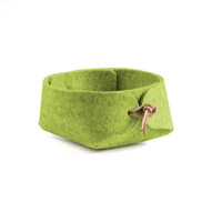 spring basket desk organizer - spring green container with leather strap closure - green jewelry organizer