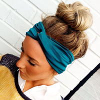 Teal Turban Headband Stretch Jersey Twist by ThreeBirdNest on Etsy