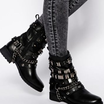 ASOS ARUBA Leather Biker Boots