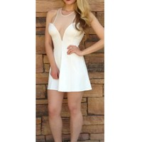 White Mini Dress w/ Sweetheart Neckline & Racer Back