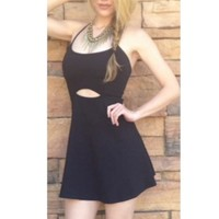 Black Sleeveless Bodycon Dress w/ Cut Outs & Open Back