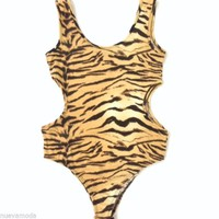 Cotton Cut Out Tigress Bodysuit All sizes and Plus
