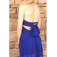 Blue Strapless Mini Baby Doll Dress w/ Bow Tie Back