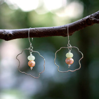 Abstract Design Sterling Silver Wire Pearl and Prehnite Earrings