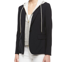 Veronica Beard Jacket with Removable Dickey & Skinny Zipper Trousers