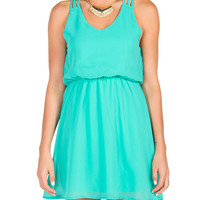 Triple Strap Chiffon Dress - Mint