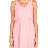 Triple Strap Chiffon Dress - Pink