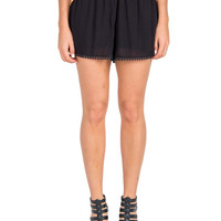 Gauze Pom Trim Lounge Shorts - Black