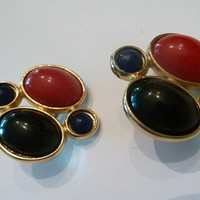 Vintage Red and Blue Earrings Plastic Cabochons Gold Setting  1980s Costume Jewelry