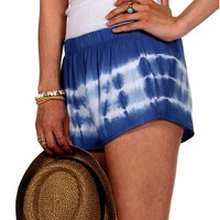 Royal/Ivory Tie Dye Jogger Shorts