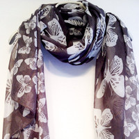 White Butterfly Grey Scarf