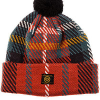 The McCloud Knit Beanie in Red Plaid