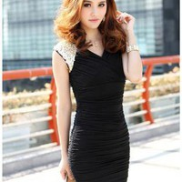 Black Day Dress - HEGO Sexy V-Neck Dress CZ002H | UsTrendy