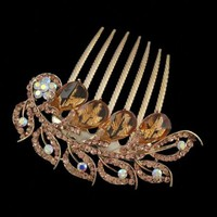 Gold Finish Rhinestone Flowers Leaves French Twist Updo Comb Champagne