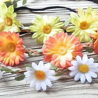 SALE GRAB BAG: White Daisy flower crown headbands flower head wrap Hippie bands Festival crown  coachella flower crowns with elastic back
