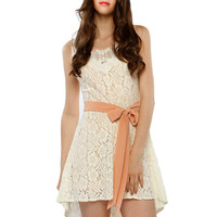 Papaya Clothing Online :: FLORAL LACY CHIFFON BELTED DRESS
