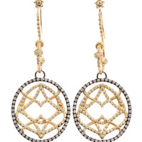 Diamond Medallion Drop Earrings