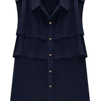 Sleeveless Layered Ruffle Chiffon Dark-blue Shirt