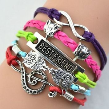 changeshopping Retro jewelry of ancient silver fox owl fashion personalized woven Bracelets