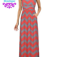 Chevron Maxi Dress Coral Grey