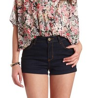 "REFUGE ""HI-RISE SHORTIE"" HIGH-WAIST DENIM SHORTS"