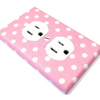 Pink and White Polka Dots Outlet Cover Electrical by ModernSwitch