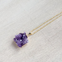 Amethyst Necklace / gold plated amethyst druzy cluster / 0629
